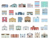 Buildings Set. Buildings Set. Cottages, Store, Museum, Hospital, Library, Bank, Cinema, Religion, Po poster
