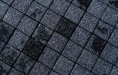 Black And Grey Rough Paving Stone Texture Background. Dark Background For Death, Sad, Hopeless And D poster