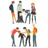 Conflict Between Teenagers, Mockery And Bullying At School Vector Illustration On A White Background poster