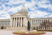 Oklahoma City capitol building and statue