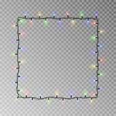 Christmas Lights Square Vector, Light String Frame Isolated On Dark Background With Copy Space. Tran poster