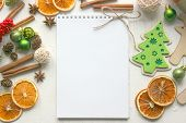 A Form To Write A Letter Of Congratulations. Planning A New Year Party Concept. Open Notebook With B poster