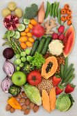 Healthy alkaline food concept for ph balance with fresh fruit and vegetables, nuts, legumes and spic poster
