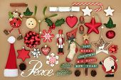 Christmas tree decorations and ornaments with silver peace sign, food, flora and traditional symbols poster