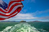 Alcatraz Island Boat Trip In San Francisco Bay, California, United States. Ferry Boat To Alcatraz Wi poster