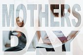 Mothers Day. Happy Family. Daughter Holding Present To Mother. Mother Drinking Tea. Mother On Backgr poster