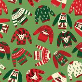 Ugly Christmas Sweaters Seamless Vector Pattern. Knitted Winter Jumpers With Norwegian Ornaments And poster
