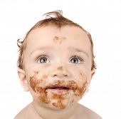 baby eating chocolate, and looking up for your text