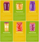 Preserved Fruit And Vegetables Vector Illustration. Peach And Blueberry, Cherry And Plum, Citrus Jam poster