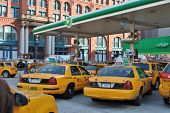 NEW YORK CITY - APRIL 8: Taxis line up for gas at a BP right before an anticipated price hike on Apr