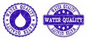Grunge Water Quality Stamp Seal Watermarks. Water Quality Text Inside Blue Unclean Rubber Seals With poster