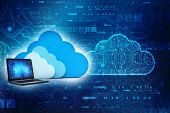 3d Rendering Cloud Computing Concept, Cloud With Computer In Technology Background poster