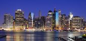 Lower Manhattan viewed from Brooklyn Heights in New York City.