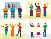 Political Meeting Banner Set. Flat Illustration Of Political Meeting Banner Set For Web Design poster
