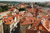Aerial view of Mala Strana in Prague, Czech Republic.