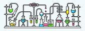 Chemistry Lab Banner. Outline Illustration Of Chemistry Lab Banner For Web Design poster