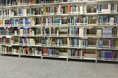 shelves in library