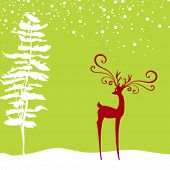 Christmas background with deer and fir in silhouette