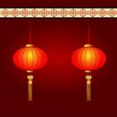 Chinesisches Neujahr Hintergrund mit roten Laternen für Laternenfest