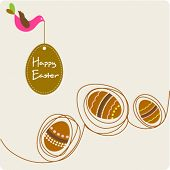 stock photo of pasqua  - Easter greeting card with decorative eggs and bird - JPG