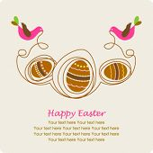Easter greeting card with decorative eggs and bird