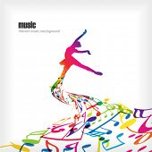 Abstract music background with dancer.