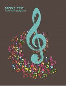 musical theme background with violin key - vintage vector Illustration