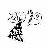 Happy New Year Typographic Emblems Set. Vector Logo, Text Design. Black And White. Usable For Banner poster