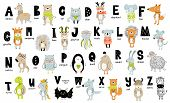 Vector Poster With Letters Of The Alphabet With Cartoon Animals For Kids. Hand Drawn Graphic Zoo Fon poster