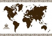 Vintage map of the world frame. Vector illustration