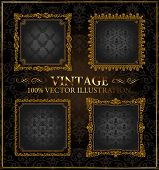 Vector vintage Gold black frames ornament set label