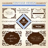 vintage frame ornament set. Vector element decor text