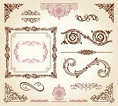 calligraphic elements vintage ornament set frame