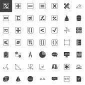 Mathematics Vector Icons Set, Modern Solid Symbol Collection, Filled Style Pictogram Pack. Signs, Lo poster
