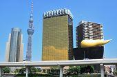Skyline of Sumida Ward, Tokyo, Japan with landmarks including the new Tokyo Sky Tree and Asahi Brewe
