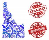 Business Contacts Combination Of Blue Mosaic Map Of Idaho State And Scratched Seals. Vector Red Seal poster