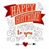 Happy Birthday. Design Of Text, Lettering On White Background. Stylish Greetings Of Happy Birthday.  poster