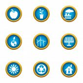 Pure World Icons Set. Flat Set Of 9 Pure World Icons For Web Isolated On White Background poster