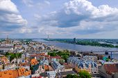 Riga, Latvia. Aerial View On The Tv Tower From The Tower Of The Church Of St. Peter. poster