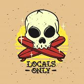 Locals Only Surfing Surf Themed Hand Drawn Traditional Old School Tattoo Aesthetic Influenced Art Wi poster