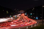 High Speed Road In Night Time Abstraction. City Road Car Light Trails Motion Background. Cars Red An poster