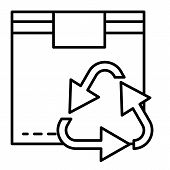Recycle Symbol On Box Thin Line Icon. Cardboard With Recycling Sign Vector Illustration Isolated On  poster