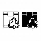 Recycle Symbol On Box Line And Glyph Icon. Cardboard With Recycling Sign Vector Illustration Isolate poster