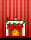 Kamin Christmas dekoration Wth Strümpfe und wallpaper