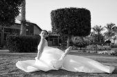 Enjoy Her Day. Bride Luxury White Wedding Dress Sunny Day Tropic Nature Background. Tropic Wedding.  poster