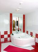 Bathroom In Red And White