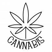 Farm Cannabis Leaf Logo. Outline Farm Cannabis Leaf Vector Logo For Web Design Isolated On White Bac poster
