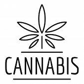 Farm Cannabis Logo. Outline Farm Cannabis Vector Logo For Web Design Isolated On White Background poster