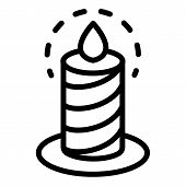 Burning Candle Icon. Outline Burning Candle Vector Icon For Web Design Isolated On White Background poster
