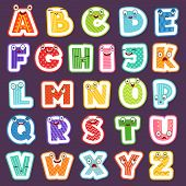 Cartoon Alphabet With Emotions. Colored Cute Font Characters Letters Symbols Signs And Numbers Vecto poster